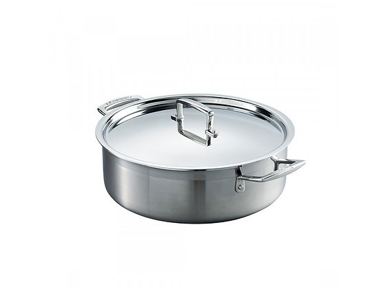 Le Creuset Three Ply Stainless Steel Saute Pan and Lid 24cm
