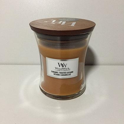 Woodwick Medium Candle - Caramel Toasted Sesame