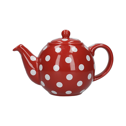 London Pottery 4 Cup Globe Teapot - Red Spot