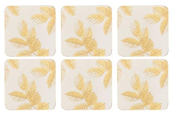 Portmerion Sara Miller Etched Leaves Coasters - Light Grey