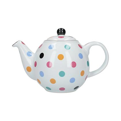 London Pottery 6 Cup Globe Teapot - White Spot