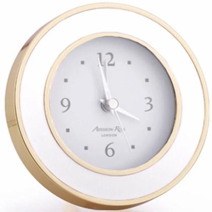 Addison Ross White Enamel Gold Plate Alarm Clock