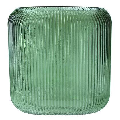 Gisela Graham Green Ribbed Glass Vase