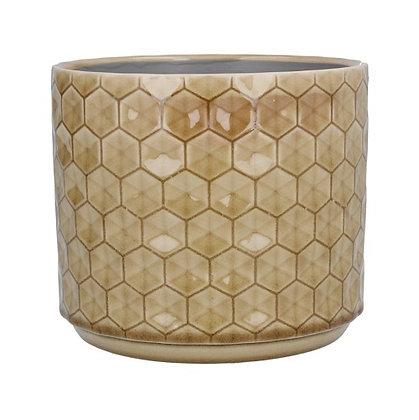 Gisela Graham Sand Honeycomb Small Pot Cover