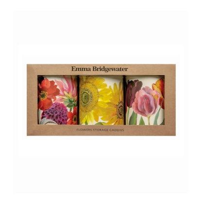 Elite Tins Emma Bridgewater Flowers Three Storage Caddies