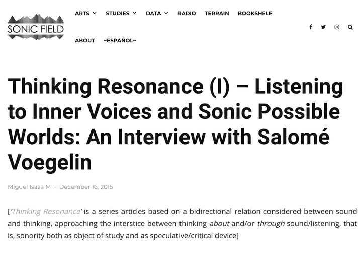 Sonic Field: Thinking Resonance (I) – Listening to Inner Voices and Sonic Possible Worlds