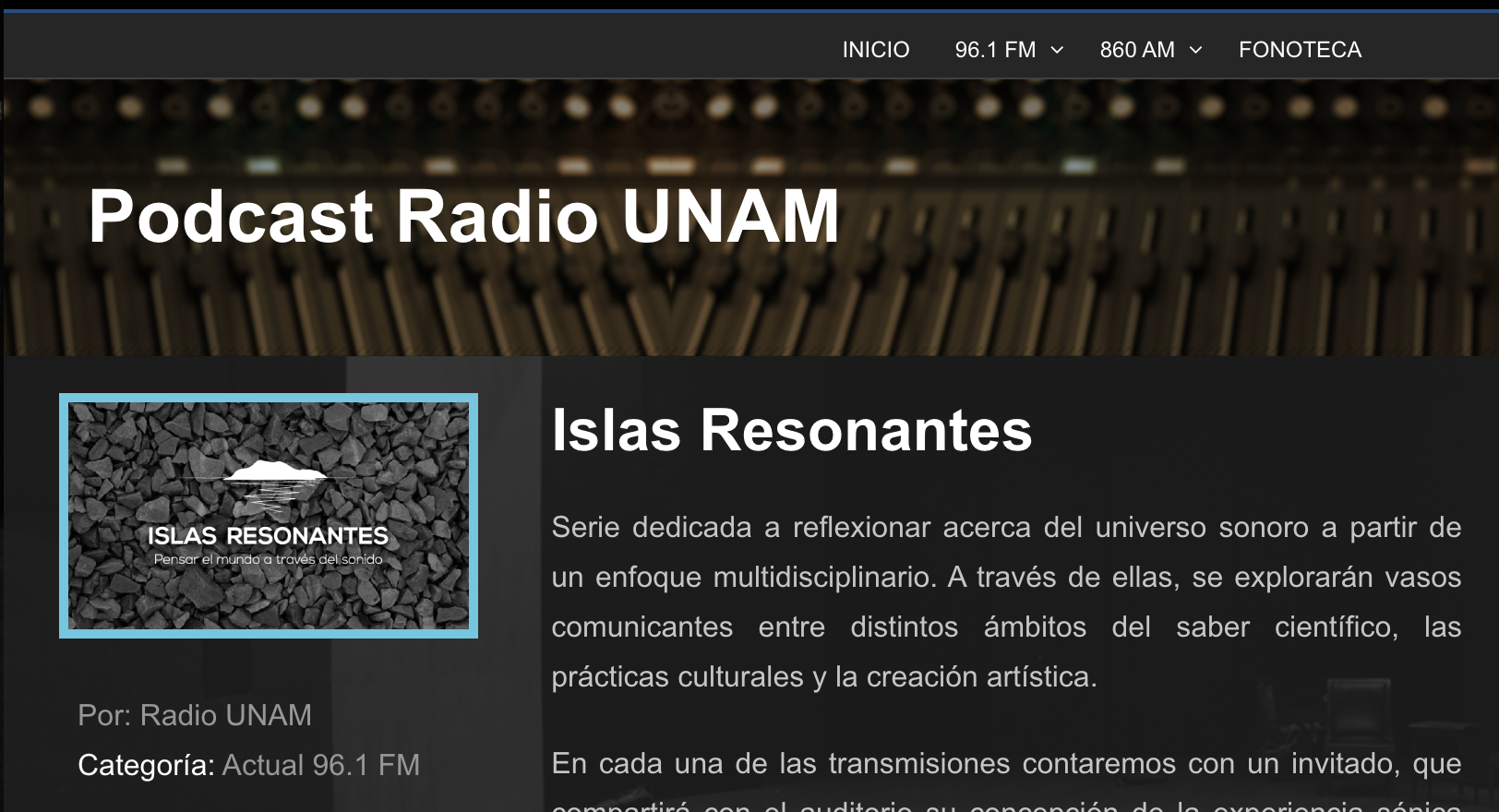 Radio UNAM: Islas Resonantes