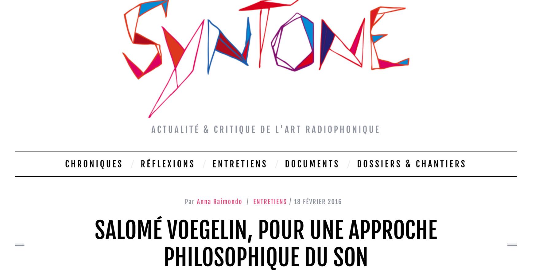 Syntone: Pour Une Approche Philosophique Du Son