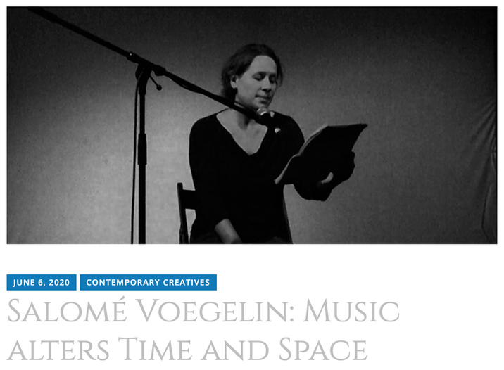 Contemporary Creatives: Salomé Voegelin: Music alters Time and Space