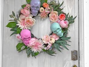 DIY Halloween Skull Wreath (Pastel)