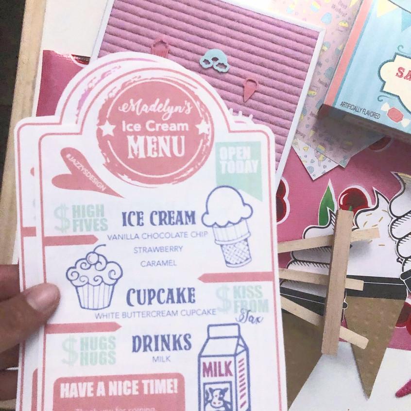 Ice Cream Menu Printout