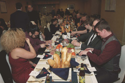 wedding guest group eating