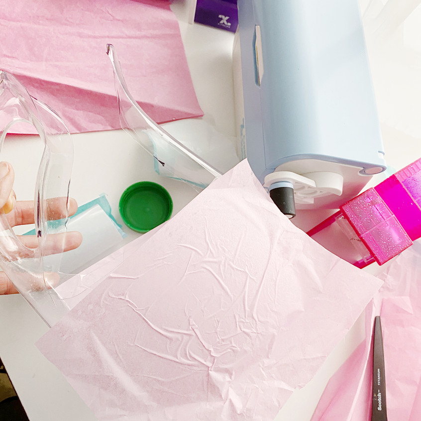 Sticking tissue paper with xyron