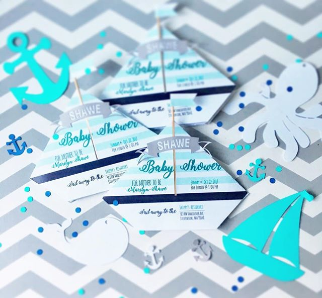 Love how these #babyshower invites turned out 😍🐳🐟