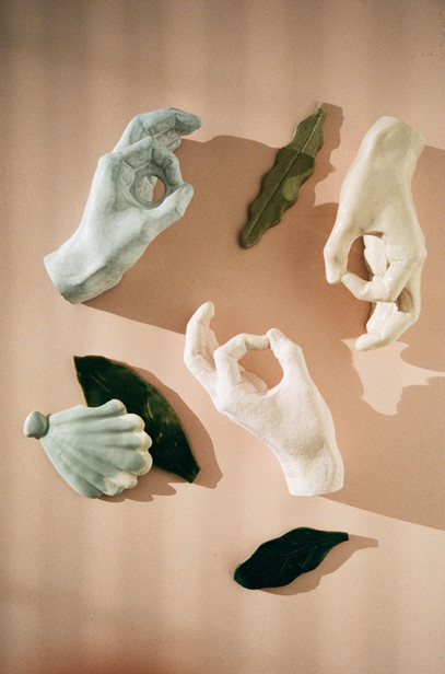 """Six hand"" sculptures"