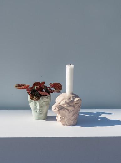 """Youth"" ceramic head and ""Lioness"" sculpture  photo by Hannakaisa Pekkala"