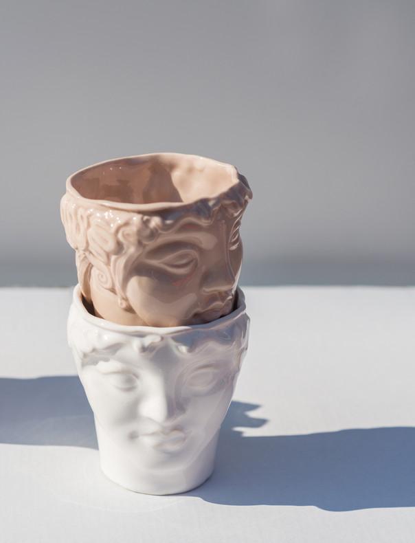 """""""Youth"""" ceramic head cups photo by Hannakaisa Pekkala"""