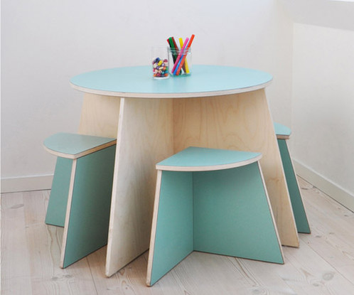Kids S Circle Table In Scandinavian Design From Small Blue