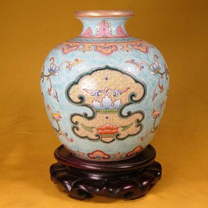 Famille Rose Enameled Porcelain Vase