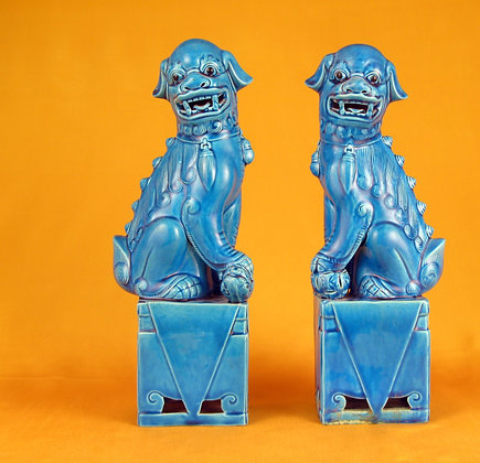 Turquoise Porcelain Foo Dogs