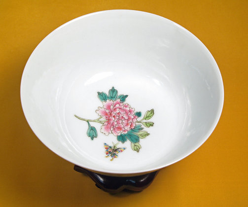 White and floral bowl