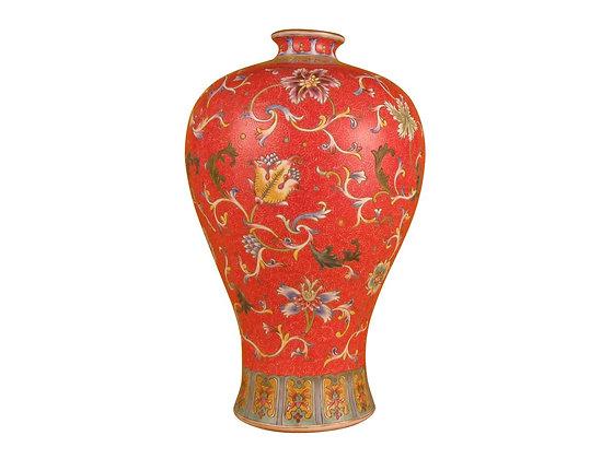 Famille Rose Enameled Meiping Form Vase