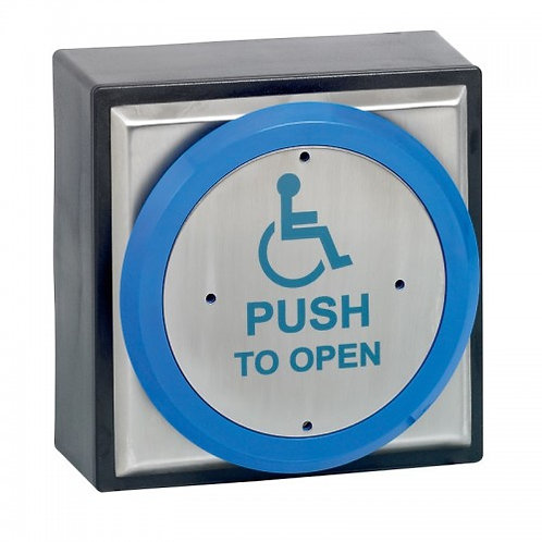 SPB009 - Weatherproof stainless steel exit button with blue trim