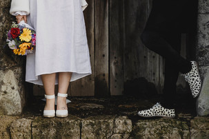 Quirky wedding photography of feet and f