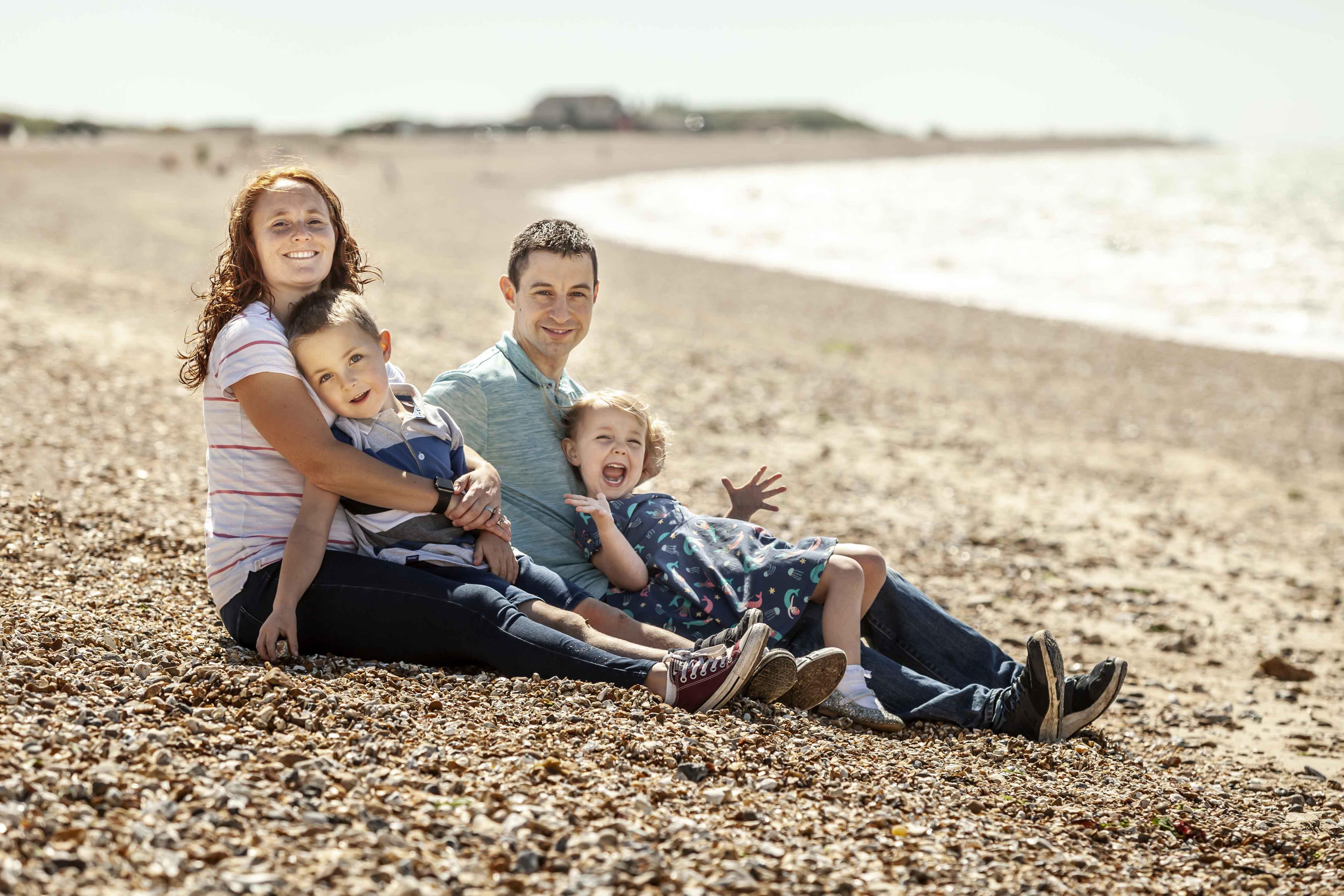 Family on the beach photo shoot