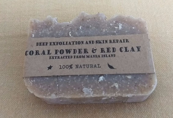 Coral powder and red clay natural soap