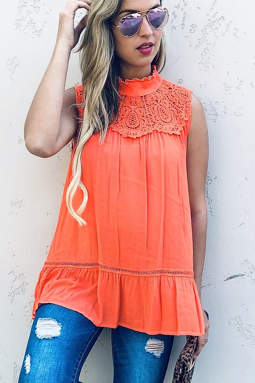 Feeling The Vacation Coral Lace Top