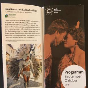 Programação do Festival Cultural do Brasil no Programa do Weltmuseum Wien