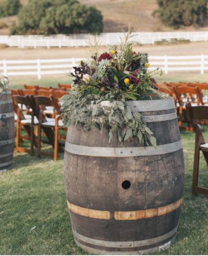 wine barrels add a vintage feel
