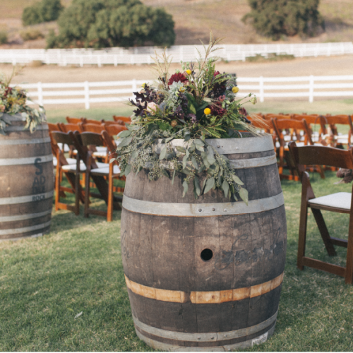 wine barrels add a vintage feel