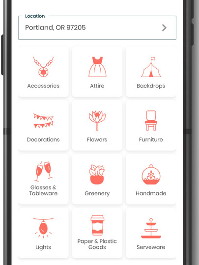filter: items, location, price, distance