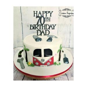 70th birthday camper van themed lemon drizzle cake