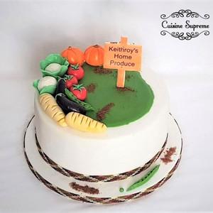 Vegetable patch birthday rum cake