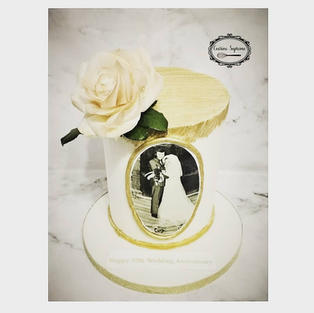 Golden Wedding Anniversary Vanilla Sponge Cake.jpg