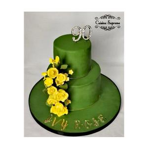 Milestone Birthday Cake. Bottom Tier Rum Fruit Cake, Top Tier Vanilla Sponge