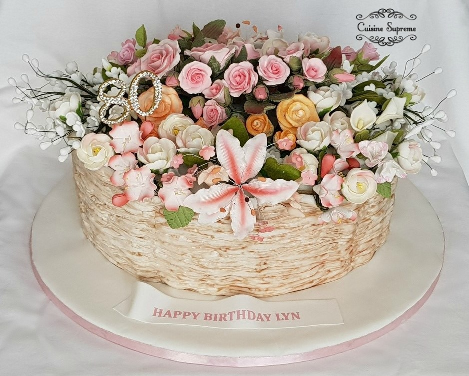 Floral 80th Birthday Cake