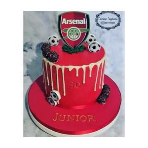 Carrot cake 50th  Arsenal themed birthday cake
