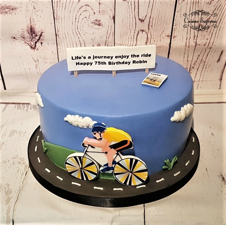 Cycling Themed 75th Birthday Cake