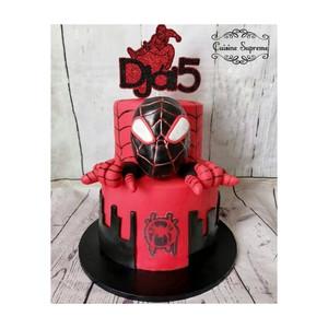 Red velvet and chocolate spiderman theme cake