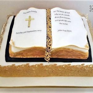 Christening Cake - Base rum fruit cake and bible rum fruit cake