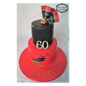 Milestone Birthday Cake, Red Velvet Bottom Tier and Vanilla Sponge Top Tier