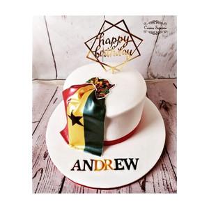 Ghana themed rum birthday cake