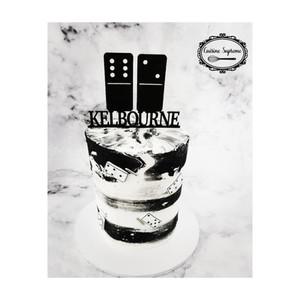 Vanilla sponge domino theme cake