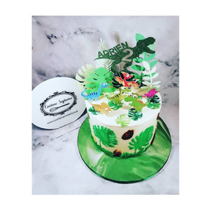 Vanilla sponge dinosaur theme birthday cake