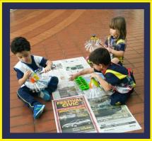 Os alunos do Jardim 1 contribuíram para que o nosso Arraiá ficasse todo enfeitado.