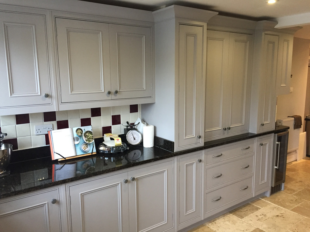 Bespoke inframe kitchen in farrow and ball Pavillion grey